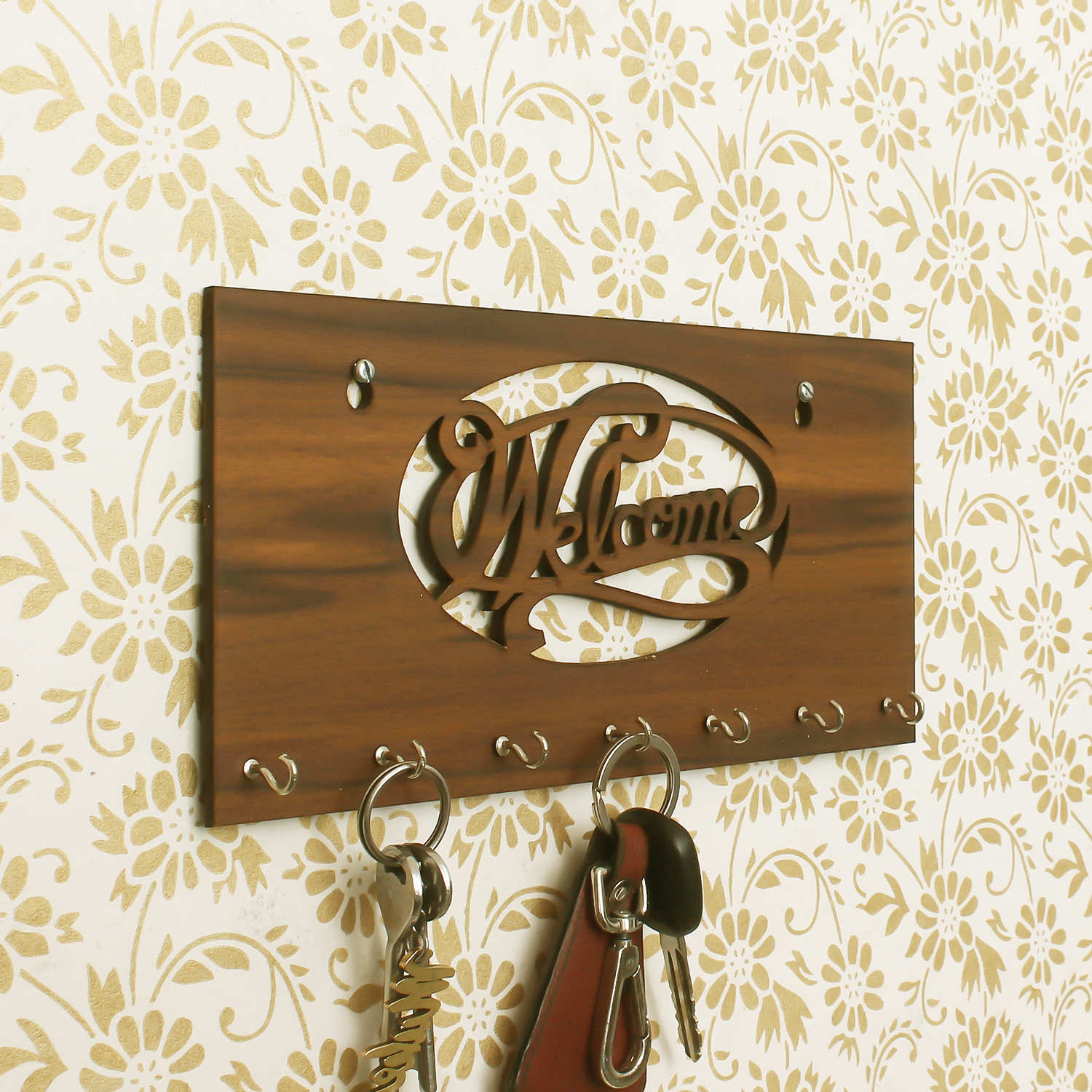 Welcome Theme Wooden Key Holder with 7 Hooks Indian Home Decor