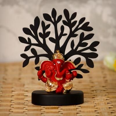 Gold Plated Red Dhoti Ganesha Decorative Showpiece with Wooden Tree for Home/Temple/Office/Car Dashboard Indian Home Decor