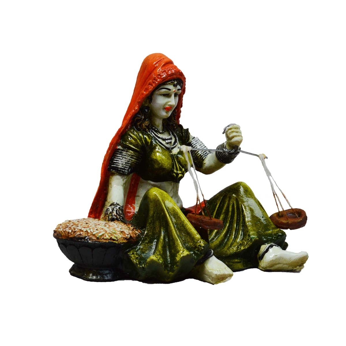 Rajasthani Lady Statue with Weighing Scale Indian Home Decor
