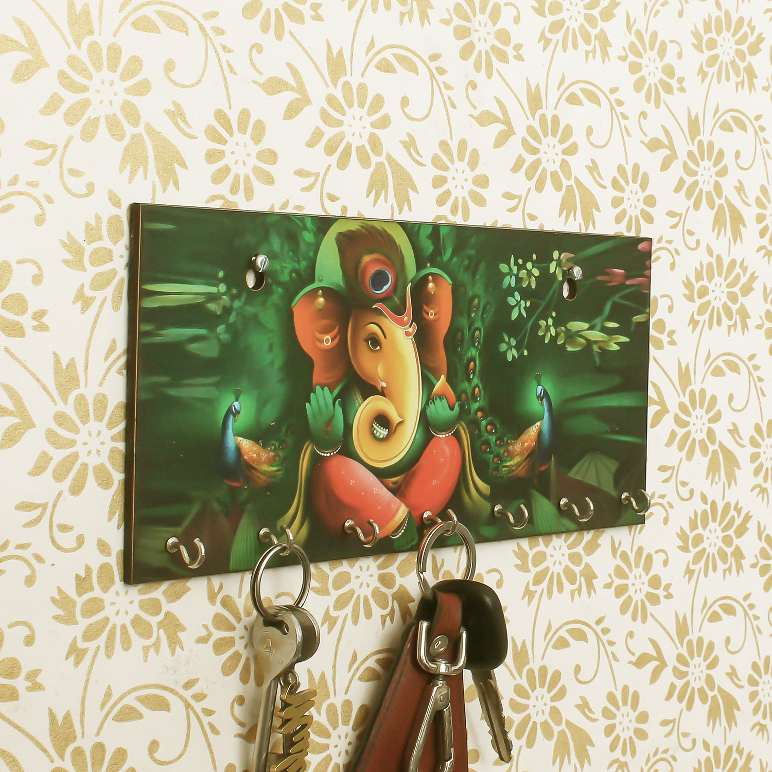 Lord Ganesha Theme Wooden Key Holder with 7 Hooks Indian Home Decor