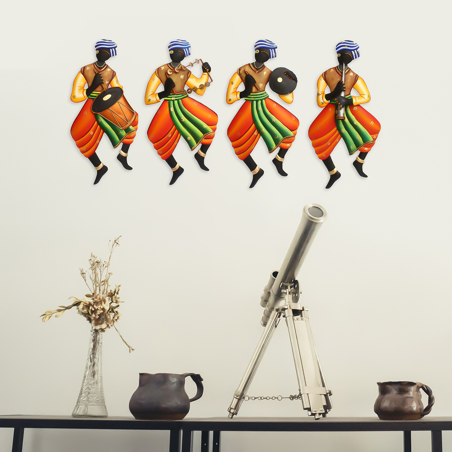 Set Of 4 Tribal Man Playing Different Musical Instruments Wall Hanging Indian Home Decor