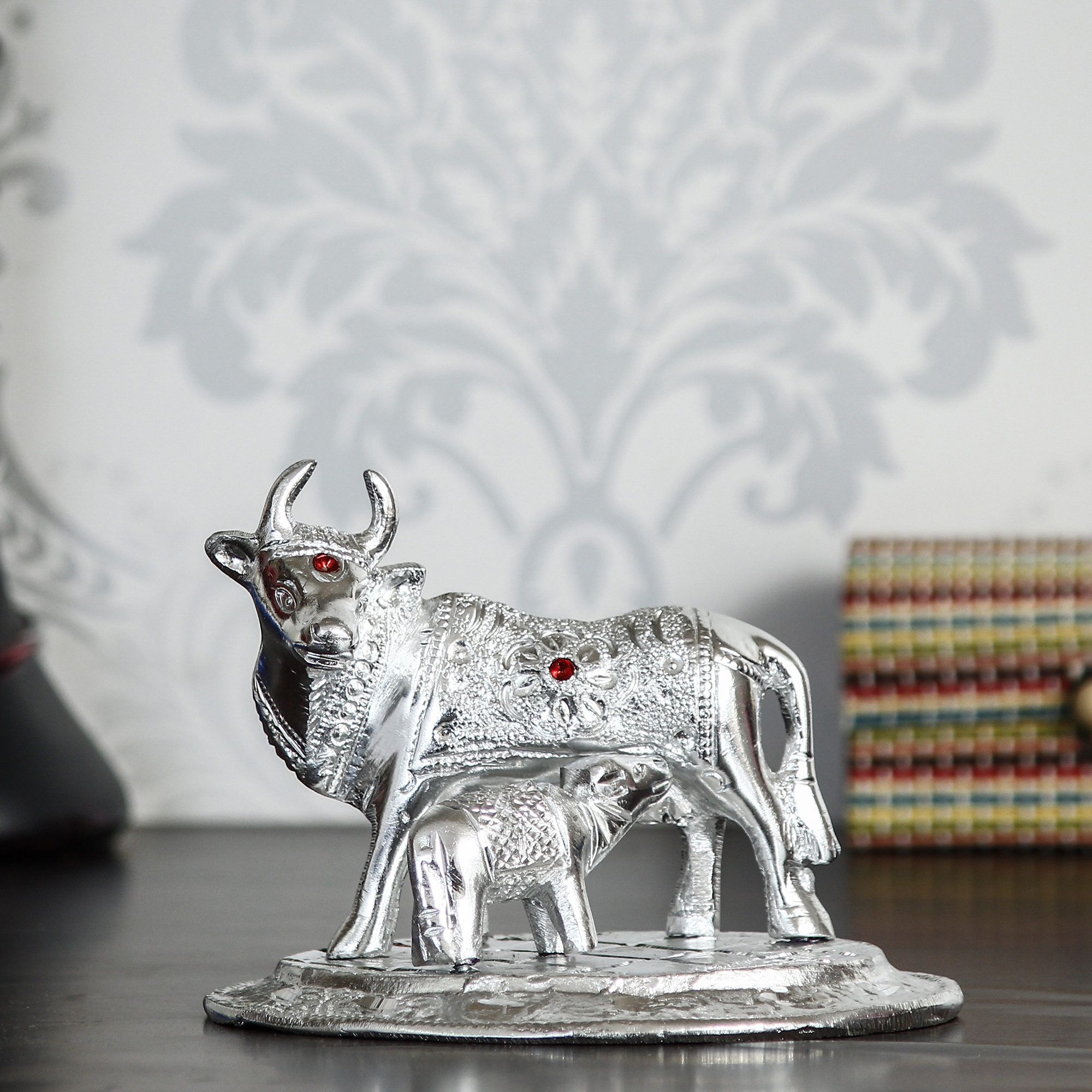 Premium White Metal Decorative Kamdhenu Cow with Calf Figurine Indian Home Decor
