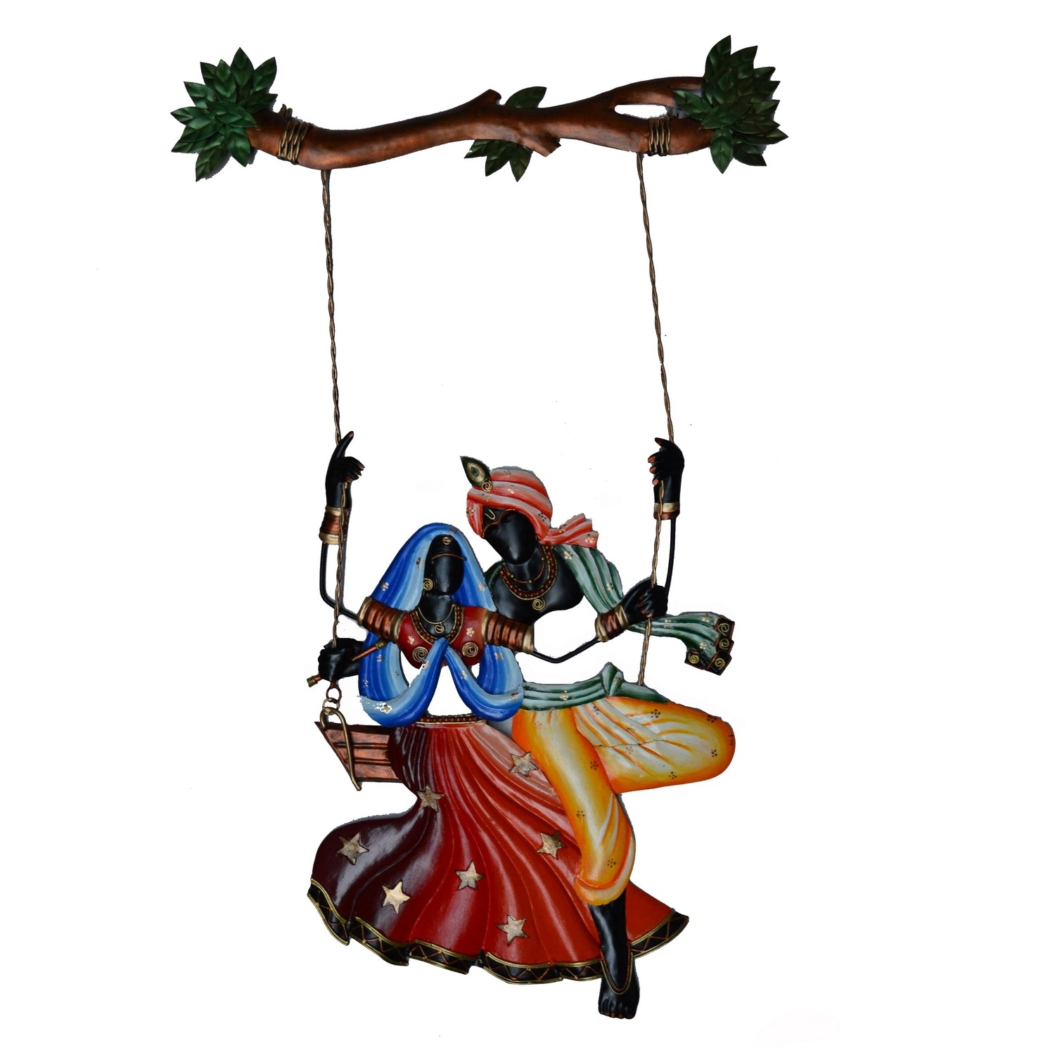 Radha Krishna on Swing Wall Hanging Indian Home Decor