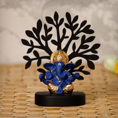 Gold Plated Blue Mukut Ganesha Decorative Showpiece with Wooden Tree for Home/Temple/Office/Car Dashboard Indian Home Decor
