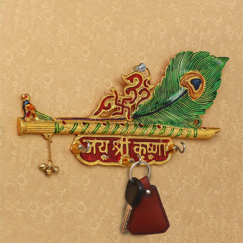 Jai Shree Krishna Key Holder With 3 Hooks Indian Home Decor