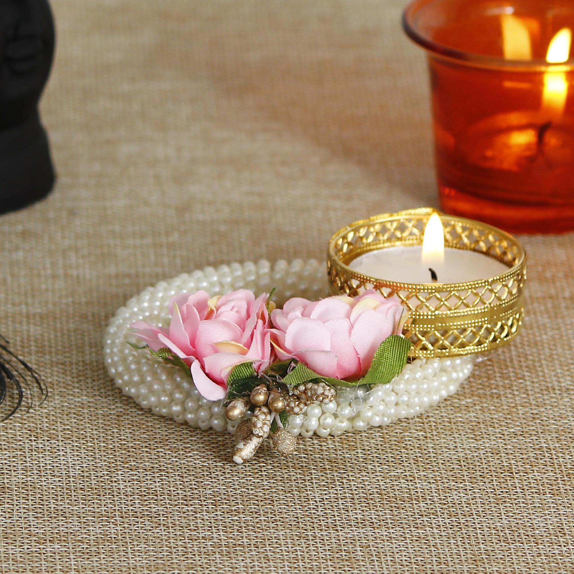 Decorative Handcrafted Pink Floral Tea Light Holder on Pearl Bangle Indian Home Decor