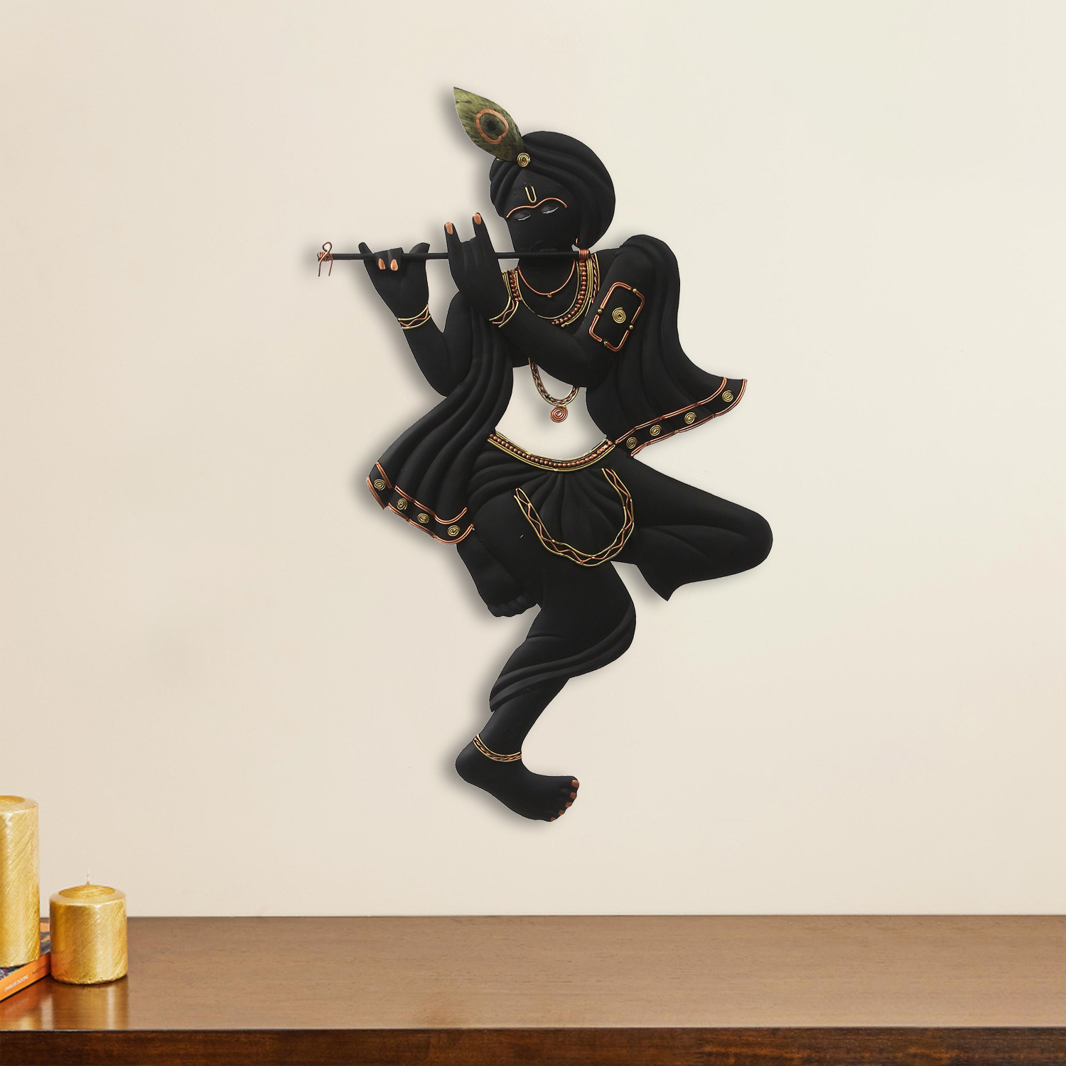 Black Lord Krishna Playing Flute Handcrafted Decorative Iron Wall Hanging Indian Home Decor