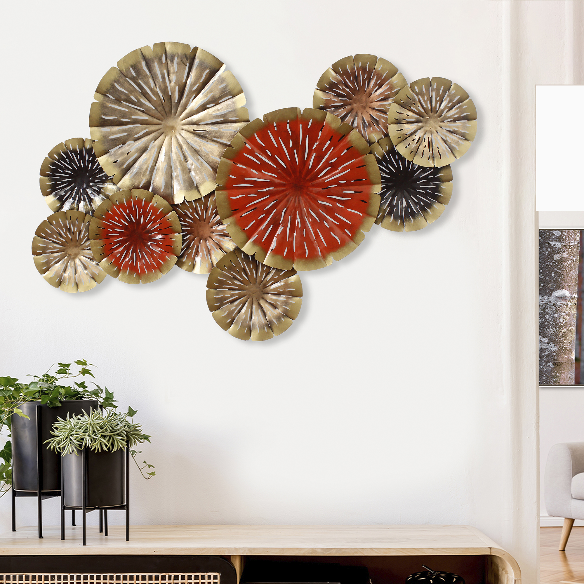 Abstract Colorful Floral Plates Collection Handcrafted Iron Wall Hanging  Indian Home Decor