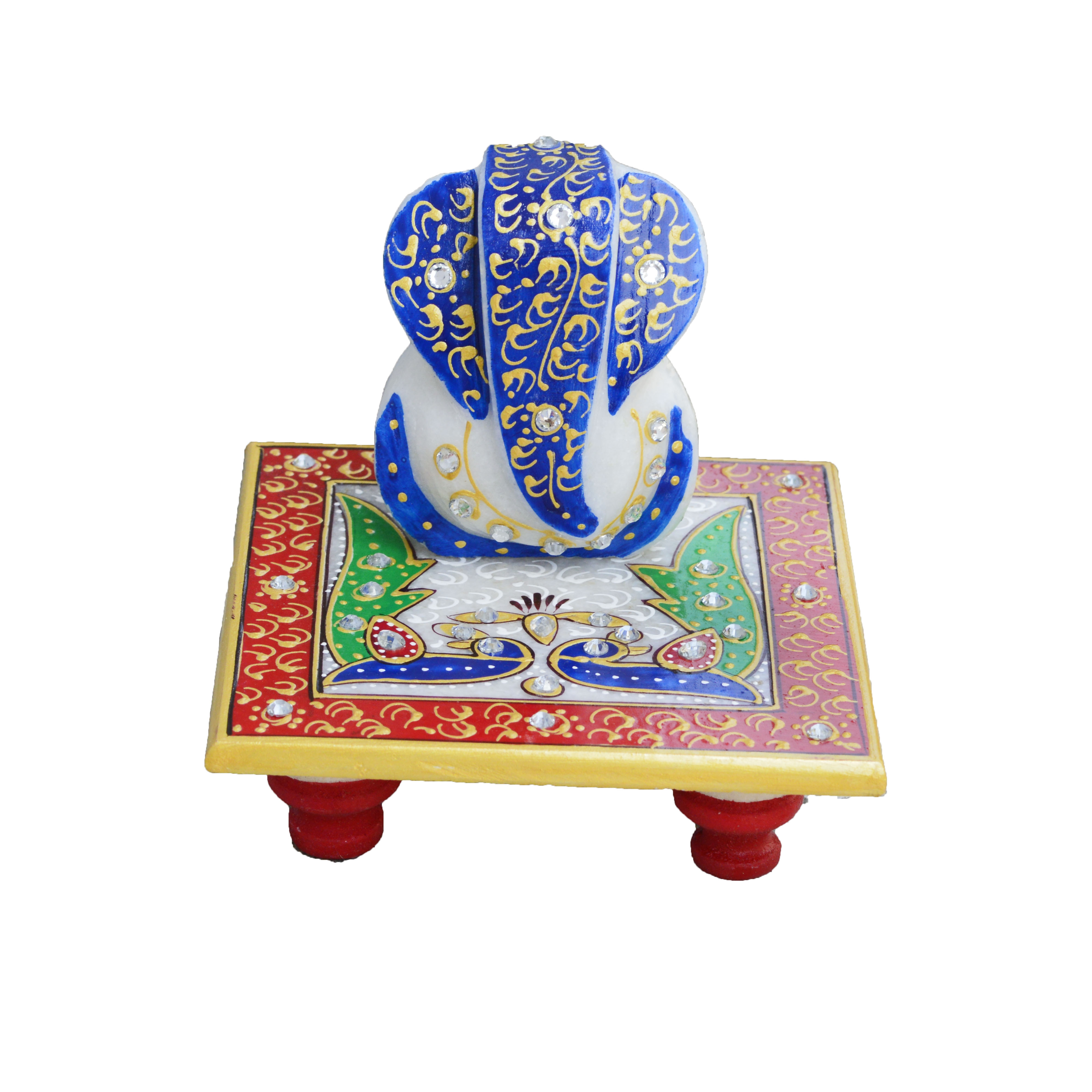 Glorious Lord Ganesha with Peocock on Marble Chowki Indian Home Decor