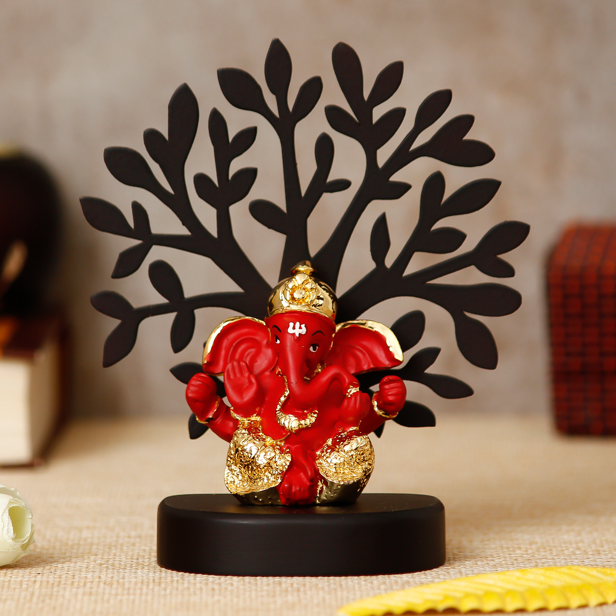 Gold Plated Orange Dhoti Ganesha Decorative Showpiece with Wooden Tree for Home/Temple/Office/Car Dashboard Indian Home Decor