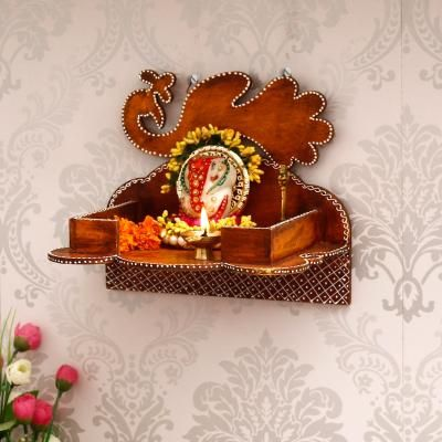 Brown MDF Pooja Temple/Mandir Indian Home Decor