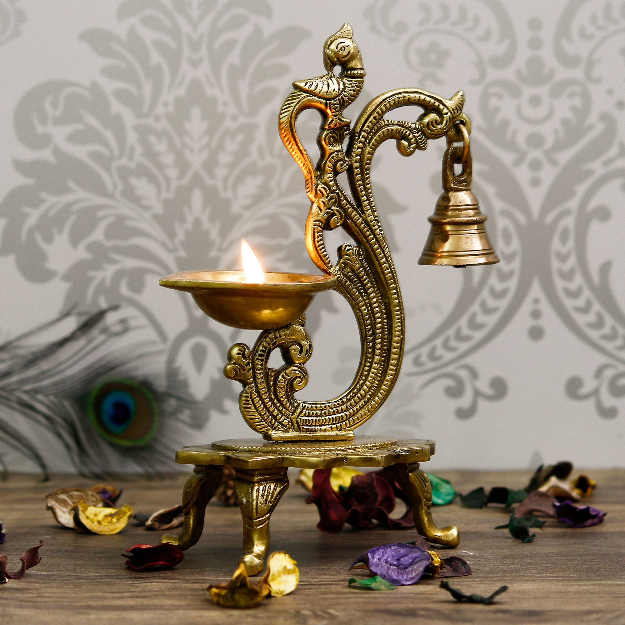 Antique Finish Decorative Handcrafted Brass Parrot Showpiece Diya with Bells and Stand Indian Home Decor