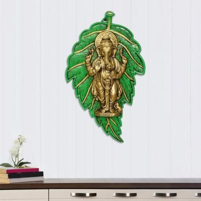 Golden Chaturbhuj Lord Ganesha  on Green Leaf Metal Wall Hanging Indian Home Decor
