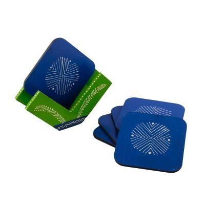 Handmade Blue Wooden Tea Coasters - Set of 6 Indian Home Decor