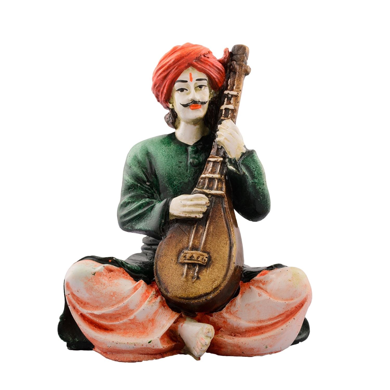 Polyresin Rajasthani playing Sitar musical instrument Indian Home Decor