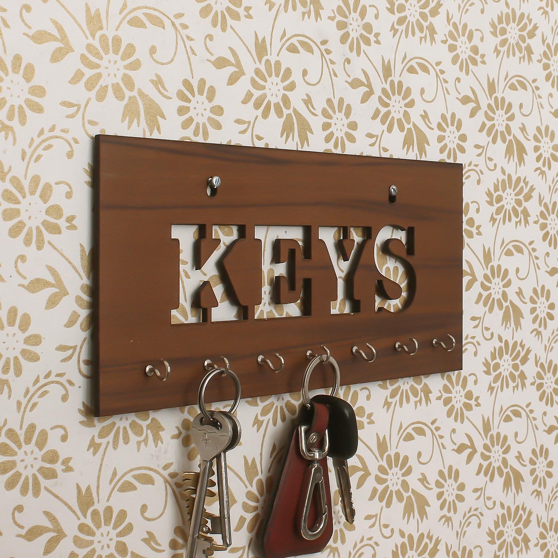 Keys Theme Wooden Key Holder with 7 Hooks Indian Home Decor