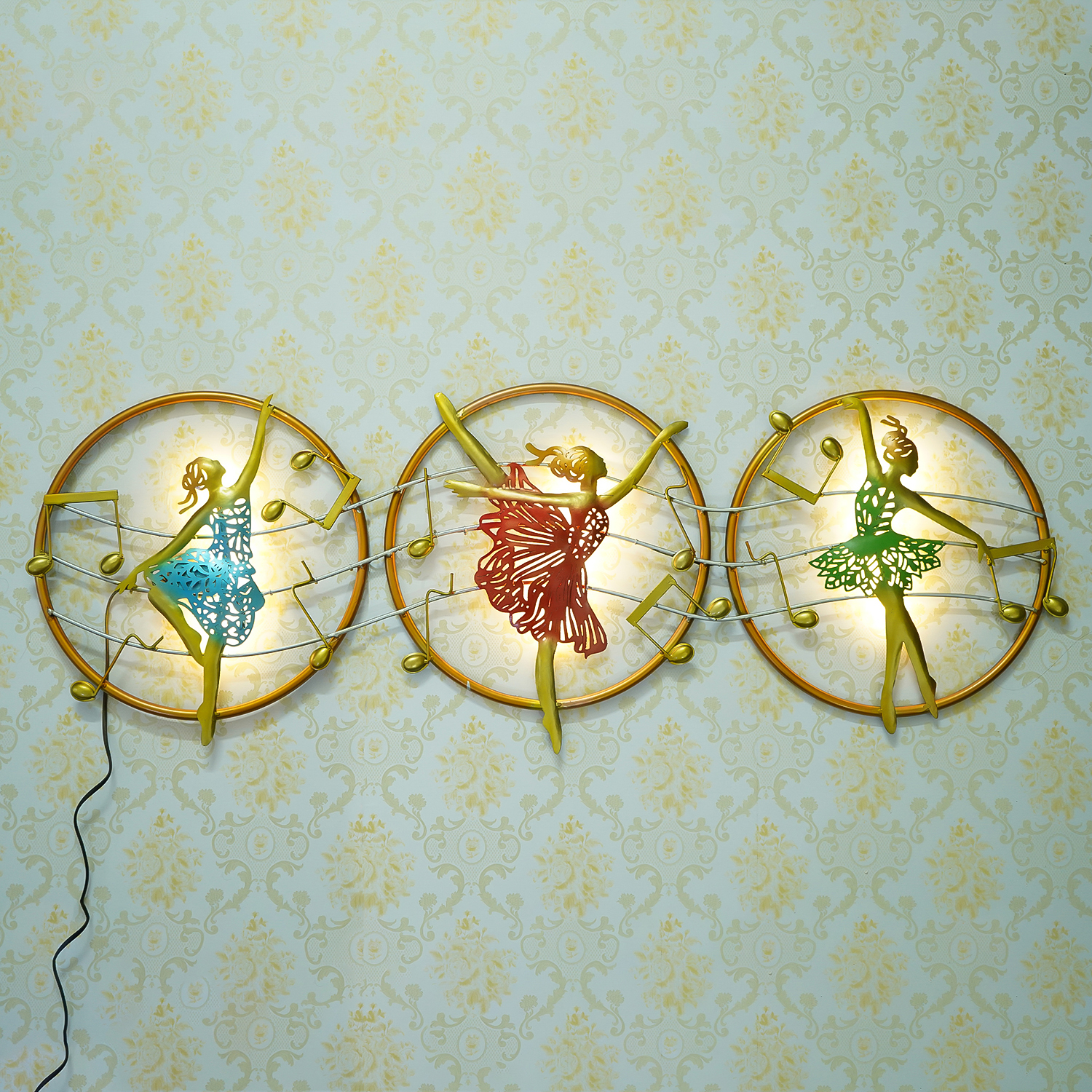 Set of 3 Dancing Lady Handcrafted Iron Wall Hanging with background LEDs Indian Home Decor