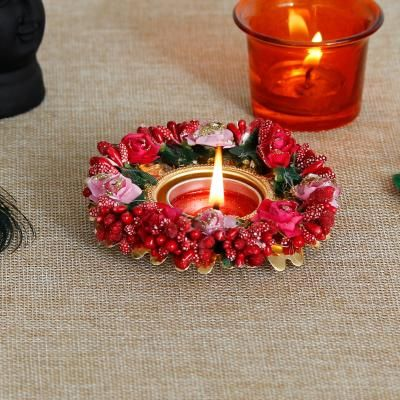 Decorative Handcrafted Red and Pink Floral Tea Light Holder Indian Home Decor