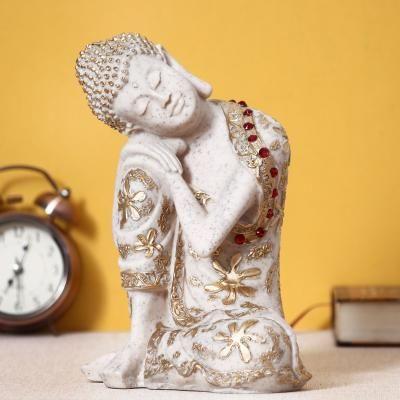 Pleasing Resting Buddha on Knee Polyresin Decorative Showpiece Indian Home Decor
