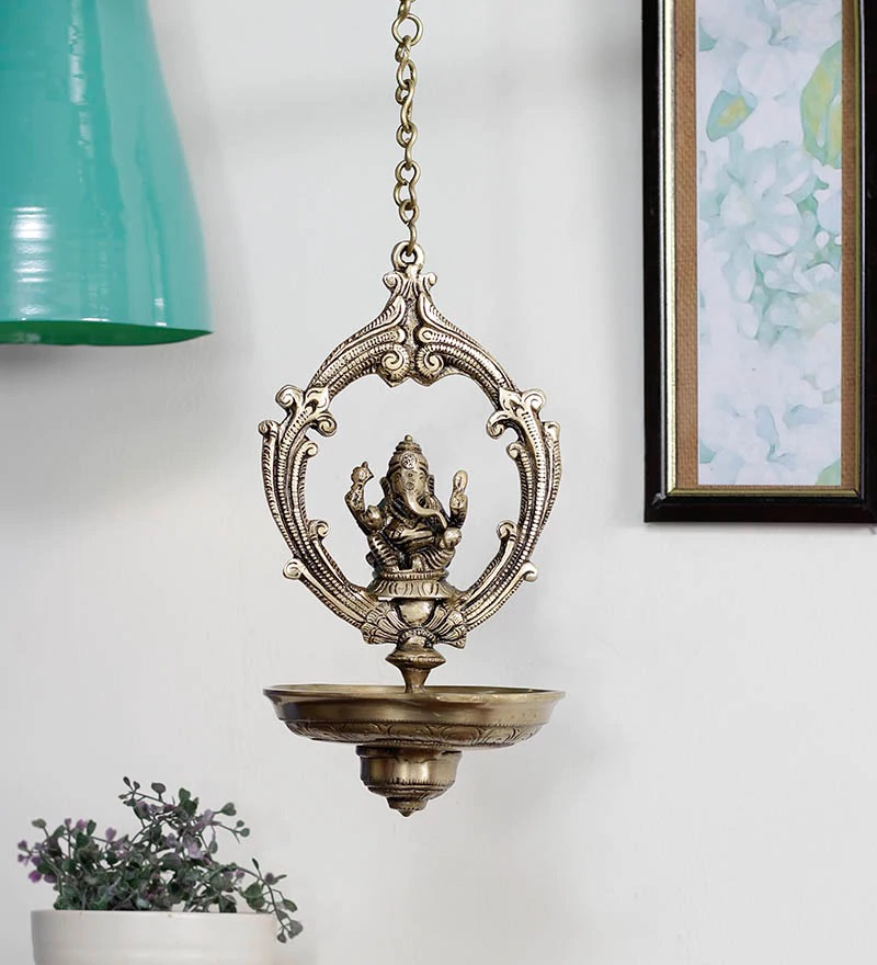 Brass Lord Ganesha Hanging Oil Wick Diya - 22Inch Long Chain Indian Home Decor