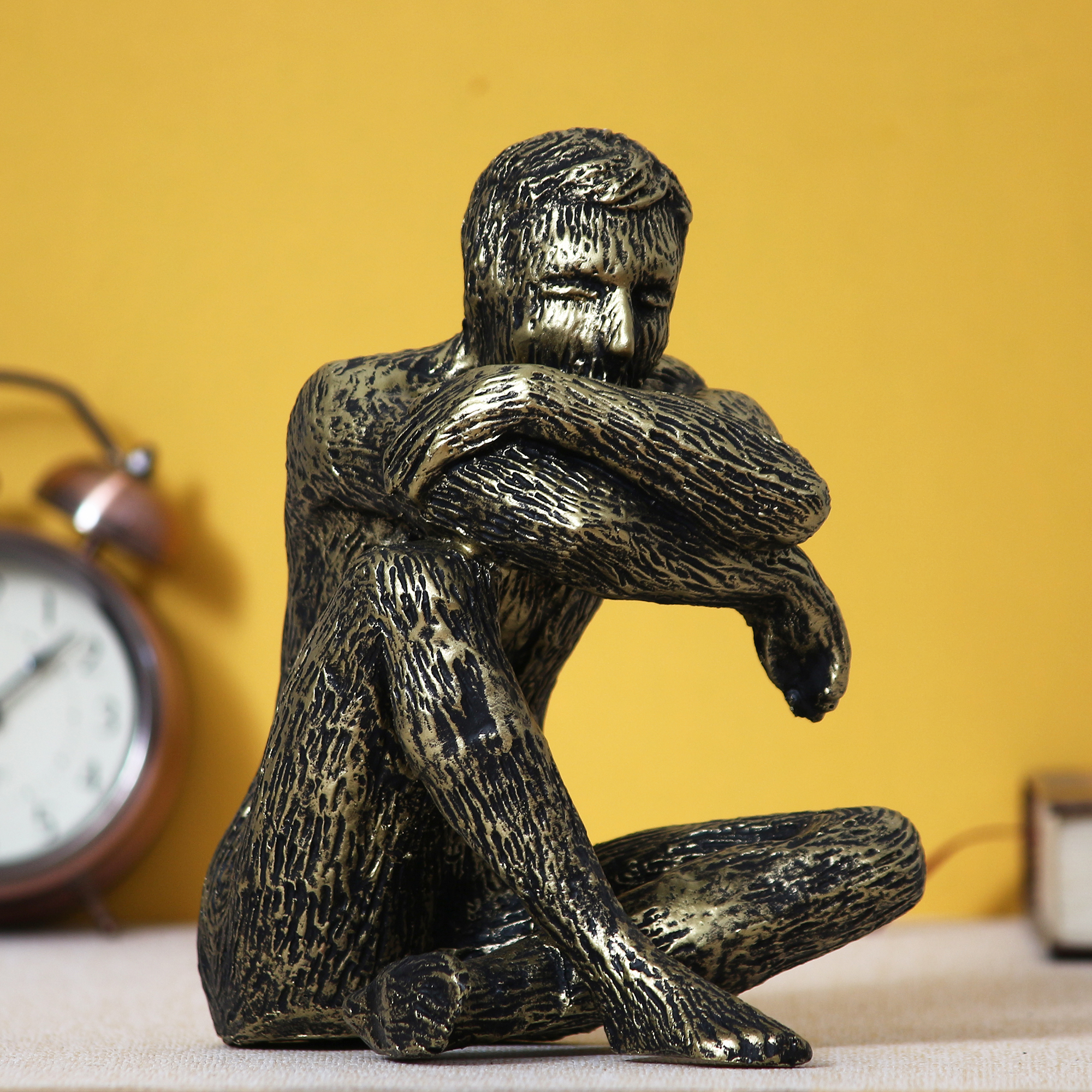 Man Sitting in Thinking Position Decorative Statue Indian Home Decor