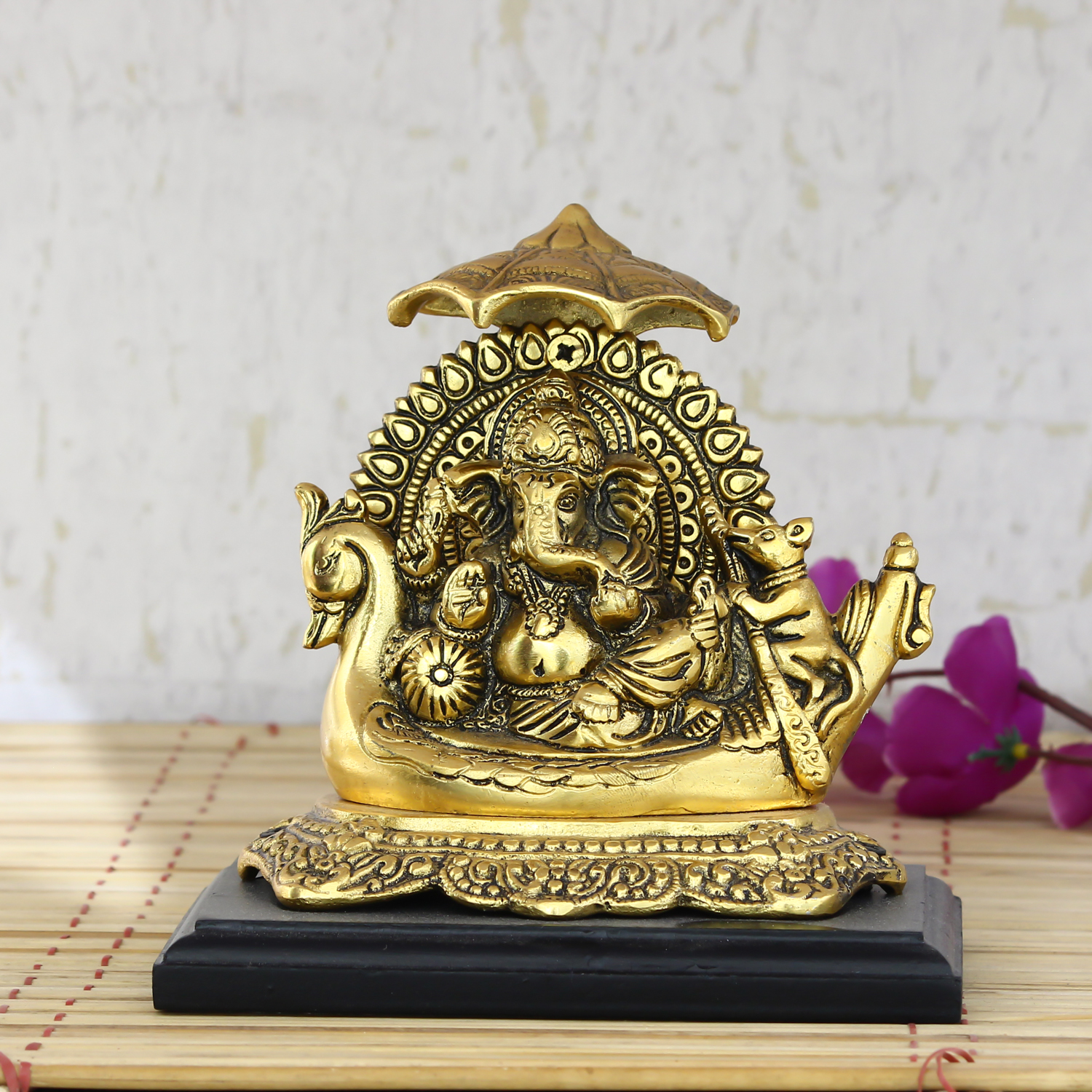 Golden Lord Ganesha sitting on Swan Throne Indian Home Decor