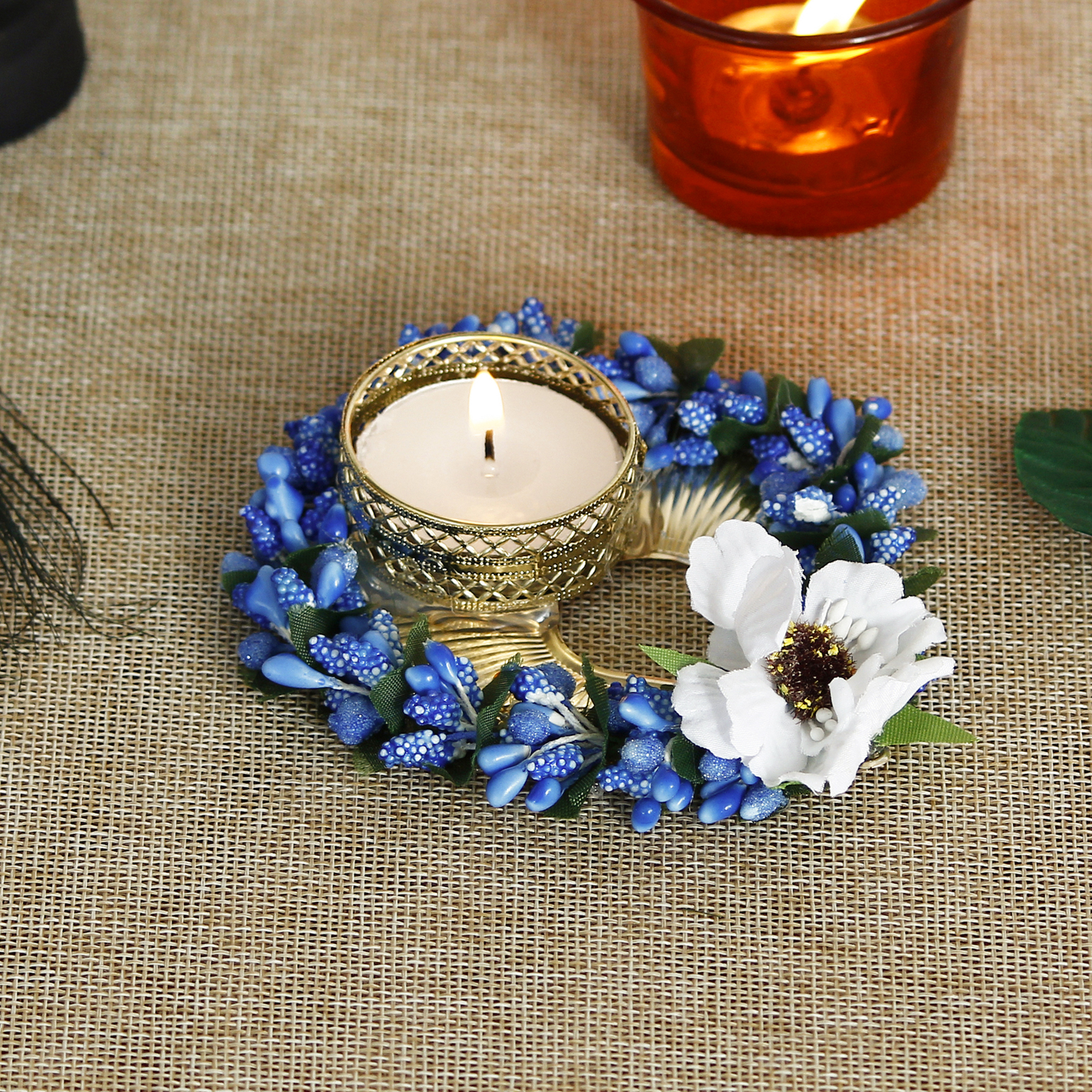 Decorative Handcrafted Blue Floral Leaf Shape Tea Light Holder Indian Home Decor