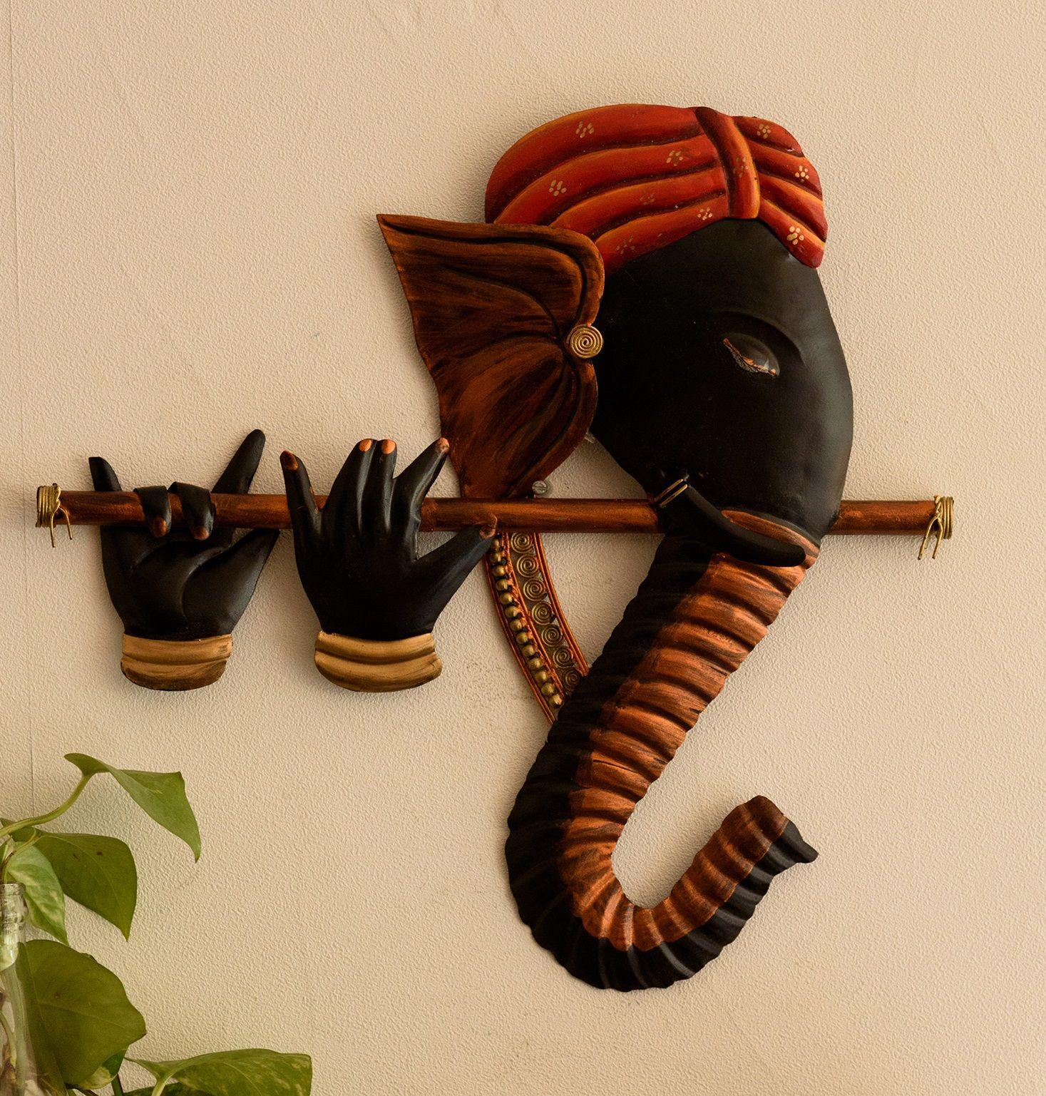 Wrought Iron Bansuri Ganesha Wall Hanging Indian Home Decor