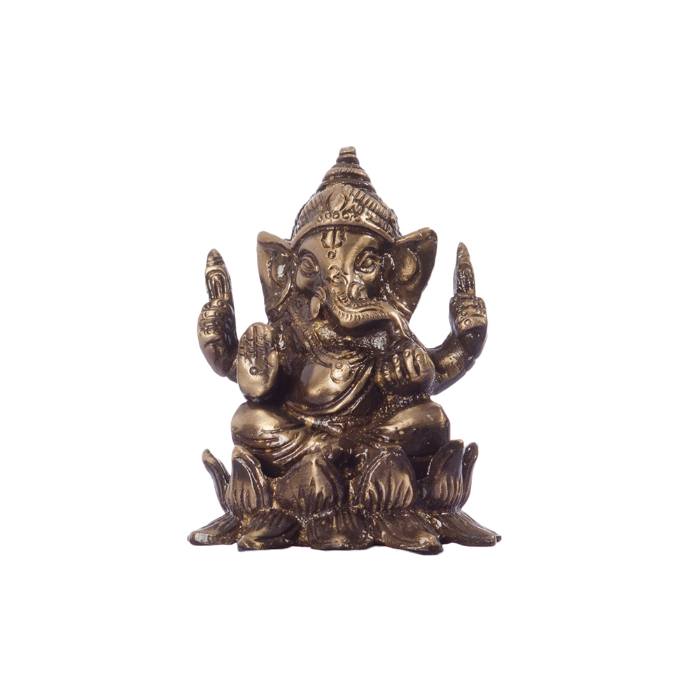 Antique Finish Brass Lord Ganesha on Lotus Indian Home Decor