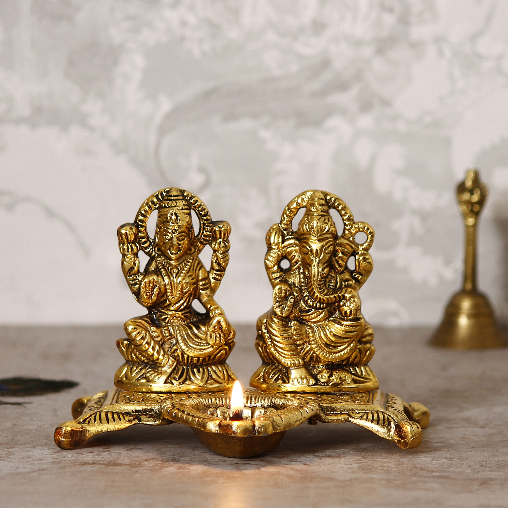 Golden Goddess Laxmi With Lord Ganesha Idol Metal Decorative Showpiece with Diya Indian Home Decor