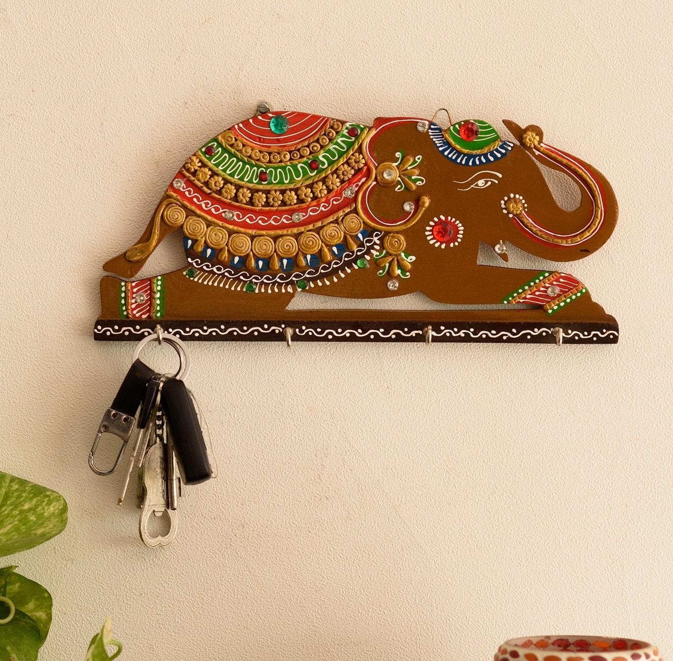 Papier-Mache Elephant Key Holder Indian Home Decor