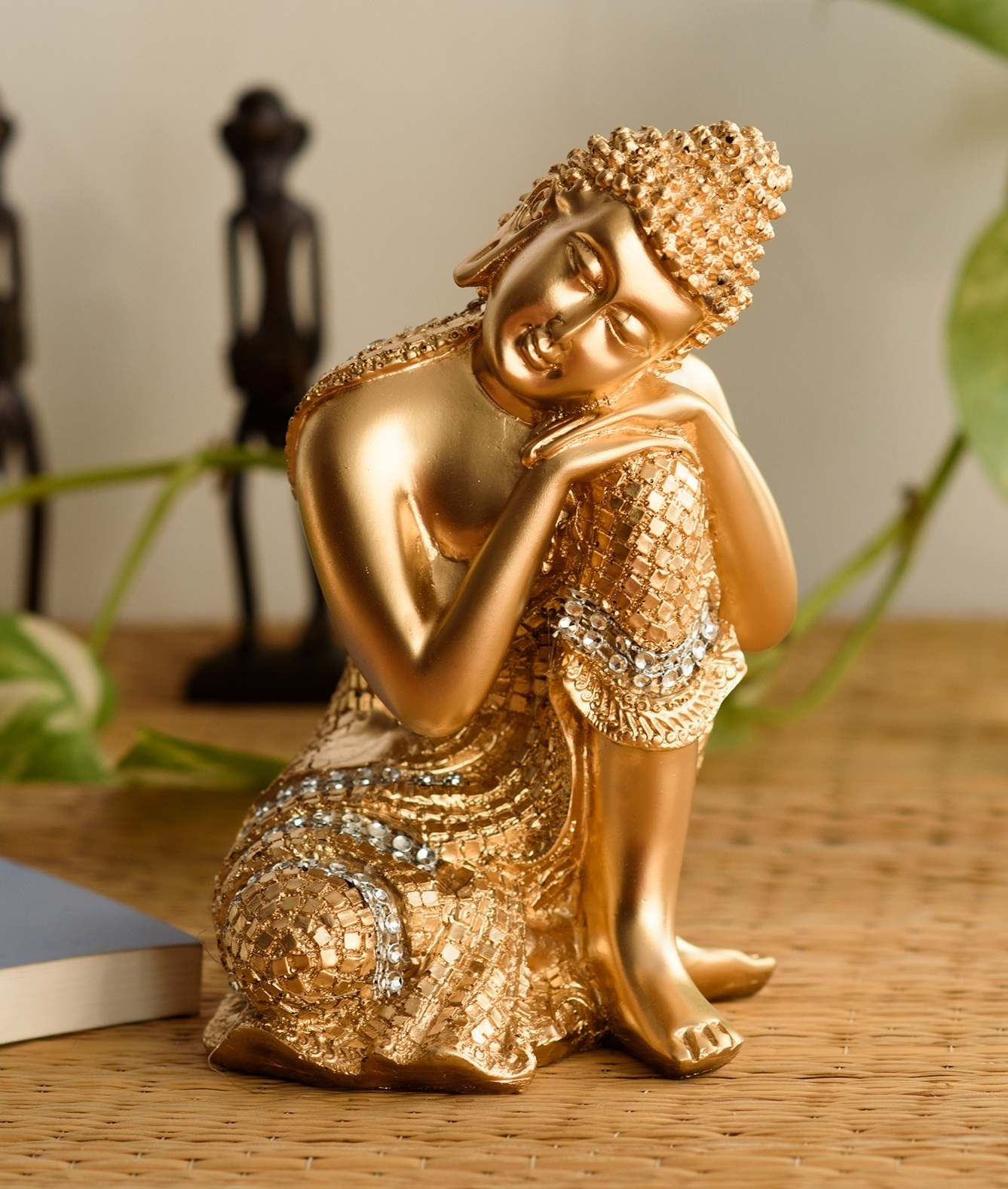Golden Buddha on Knee Polyresin Showpiece Indian Home Decor