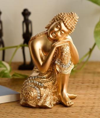 Golden Buddha on Knee Polyresin Showpiece Indian Home Decor