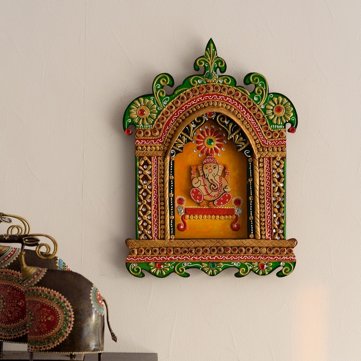 Lord Ganesha Papier-Mache Wooden Wall Hanging Indian Home Decor