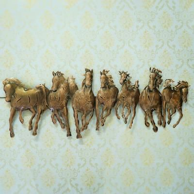 Running 7 Horses Design Handcrafted Iron Wall Hanging with background LEDs Indian Home Decor