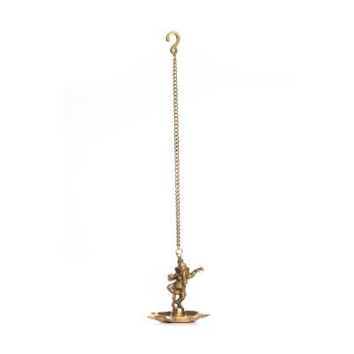 Brass Dancing Ganesha Hanging 7 Oil Wick Diya Indian Home Decor