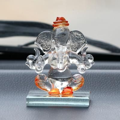 Orange and Transparent Double Sided Crystal Car Ganesha Showpiece Indian Home Decor