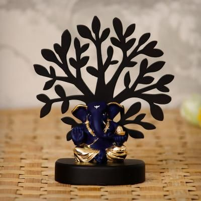 Gold Plated Blue Appu Ganesha Decorative Showpiece with Wooden Tree for Home/Temple/Office/Car Dashboard Indian Home Decor