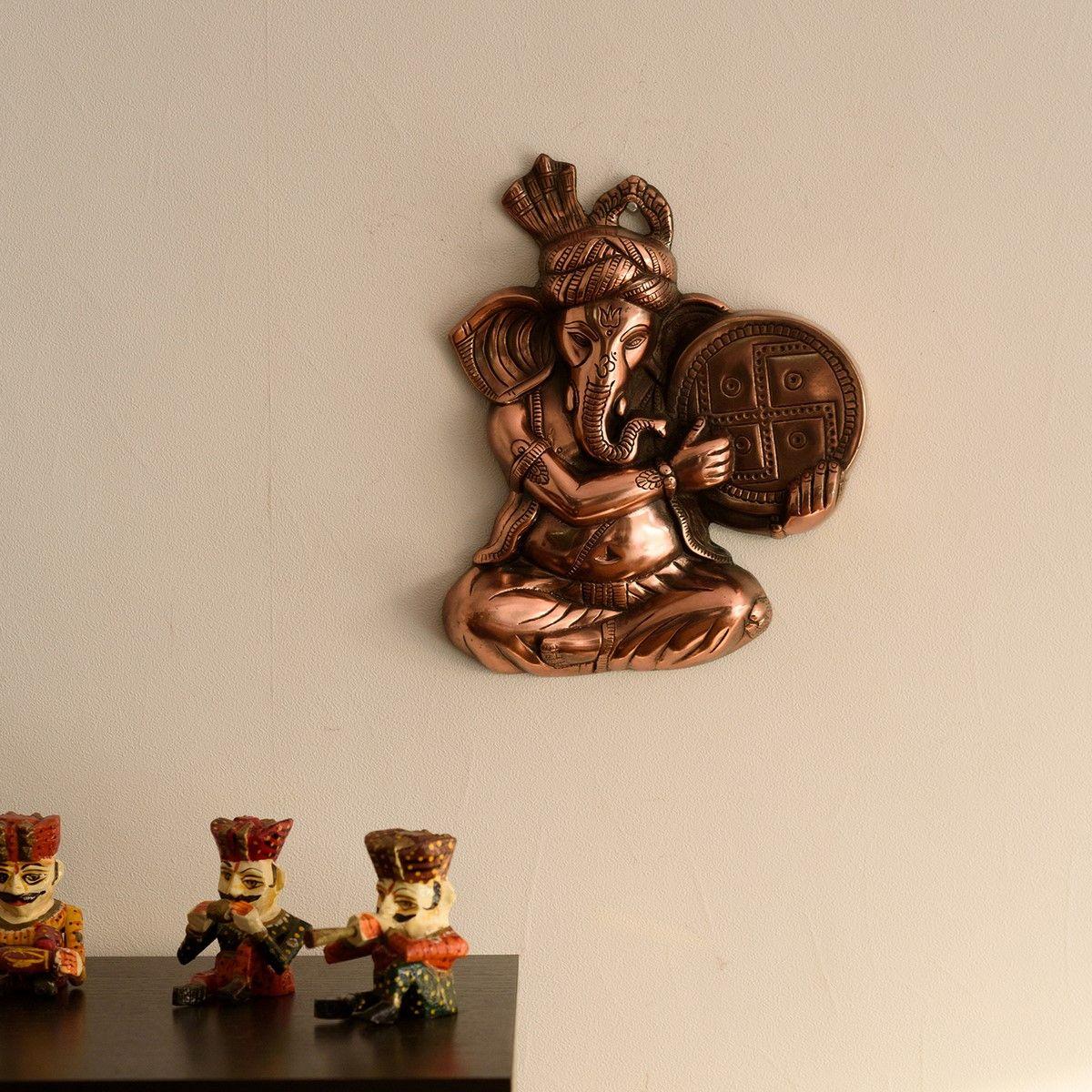 Musician Phagdi Lord Ganesha Metal Wall Hanging Indian Home Decor