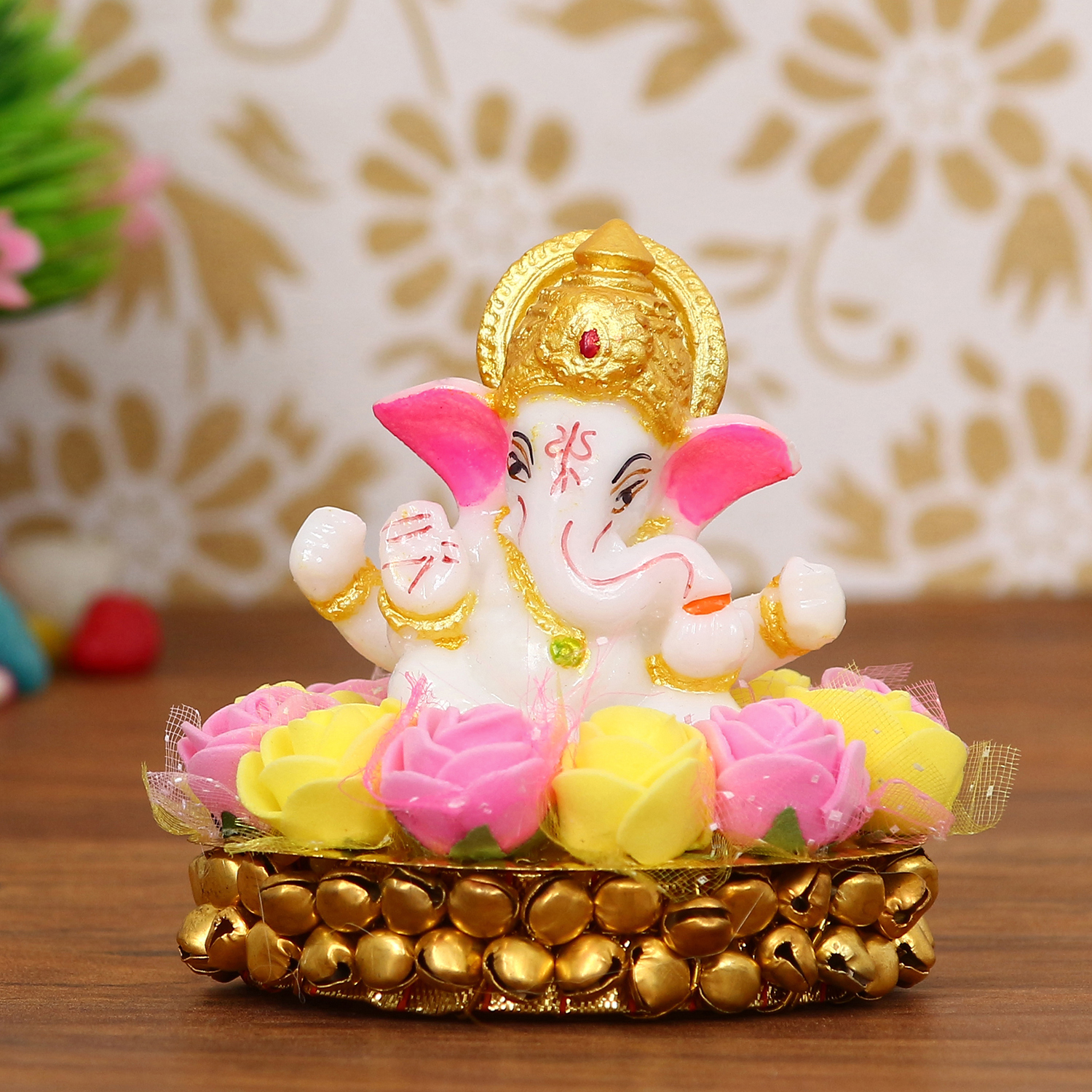 Lord Ganesha Idol on Decorative Handcrafted Plate with Pink and Yellow Flowers Indian Home Decor