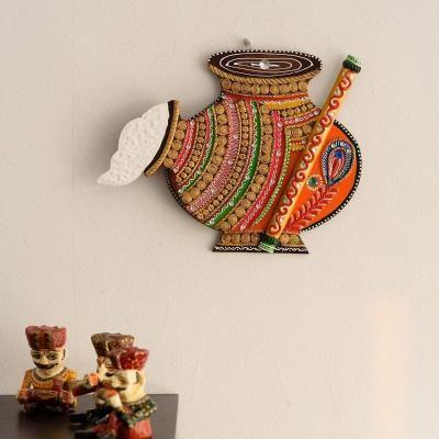 Makhan Matki Shape Papier-Mache Wooden Wall Hanging Indian Home Decor