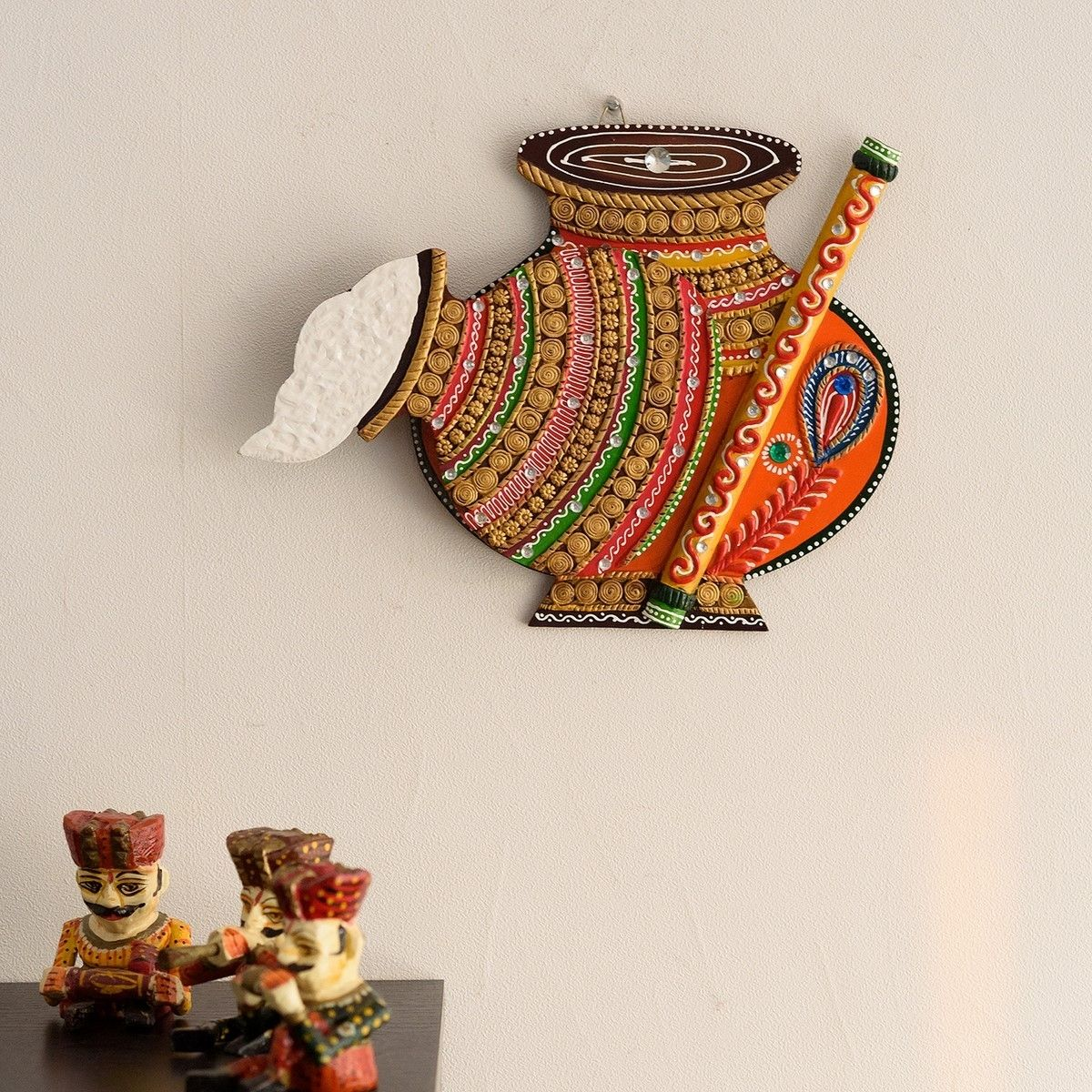 Makhan Matki Shape Papier-Mache Wooden Wall Hanging Indian Home Decor