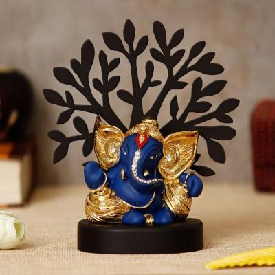 Gold Plated Blue Kaan Ganesha Decorative Showpiece with Wooden Tree for Home/Temple/Office/Car Dashboard Indian Home Decor