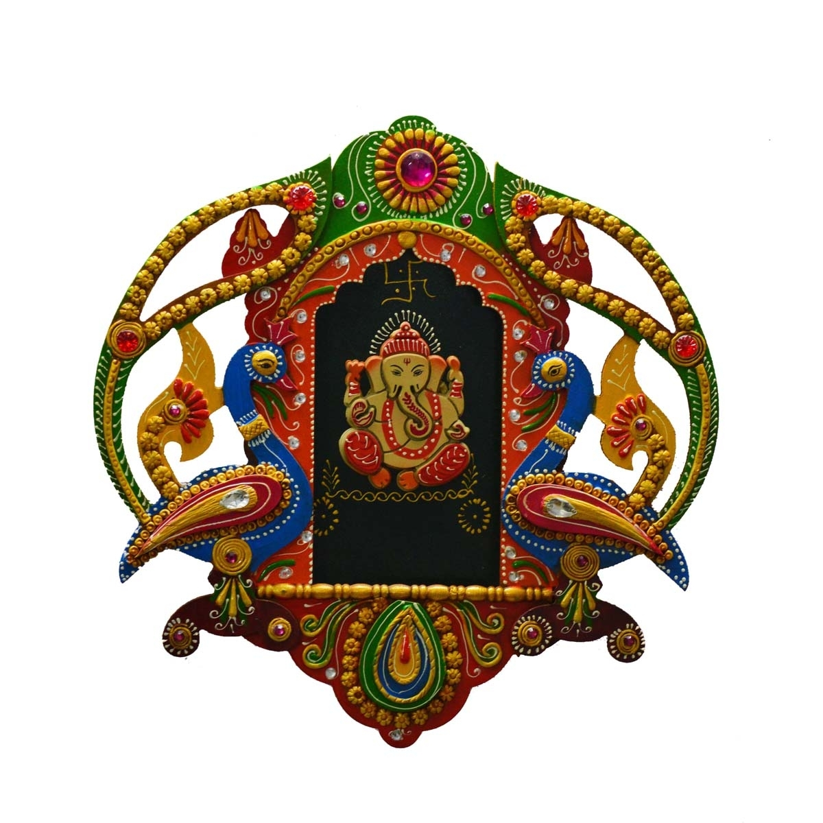 Papier-Mache Lord Ganesha with Peocock Wall Hanging Indian Home Decor
