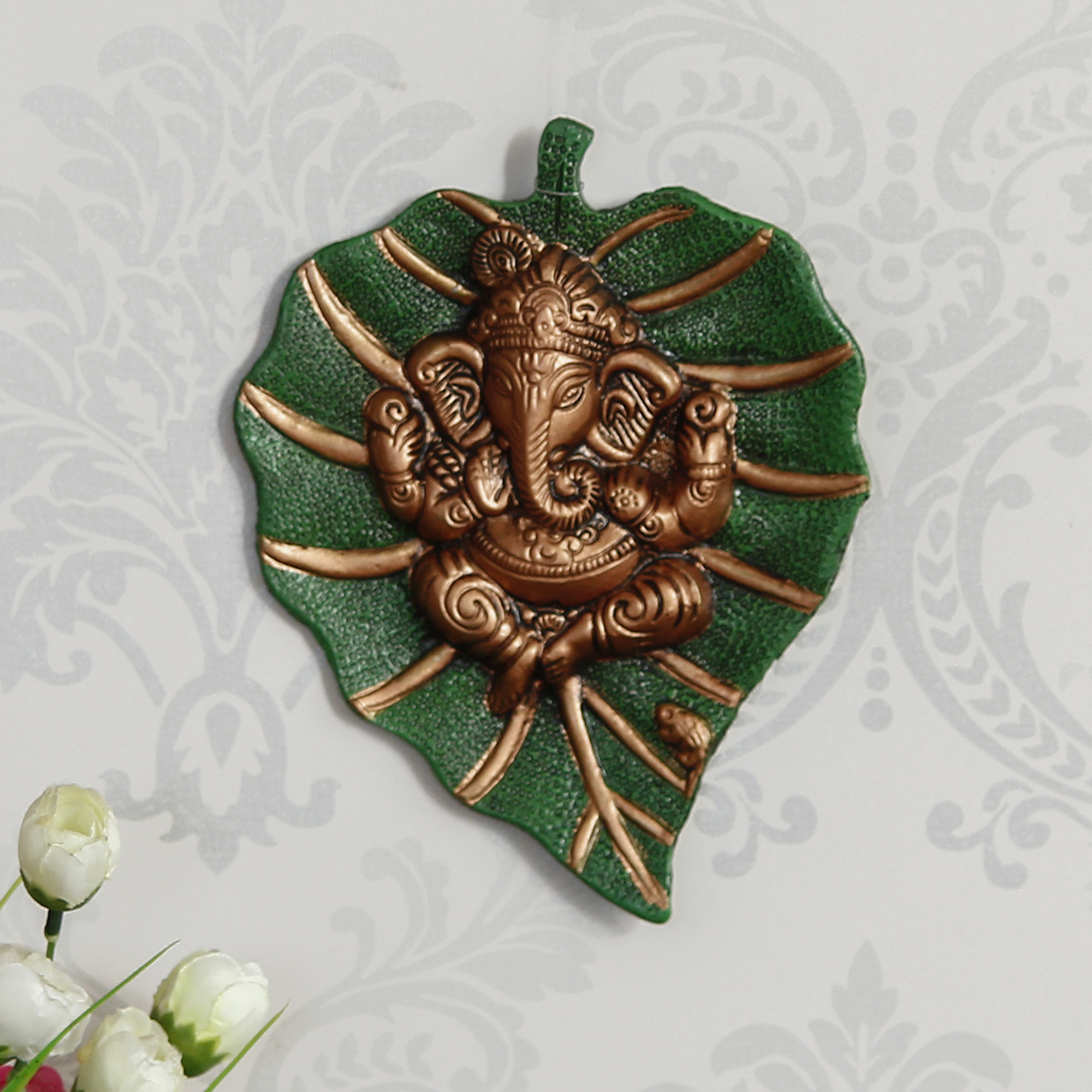 Brown Lord Ganesha on Green Leaf Wall Hanging Indian Home Decor