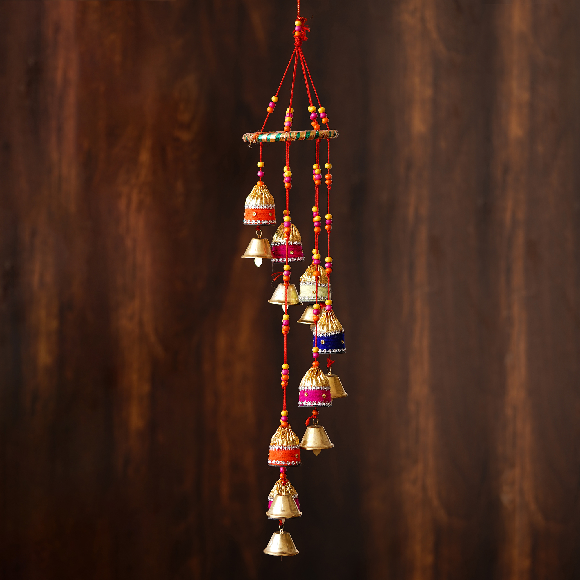 Handcrafted Decorative Colorful Spiral Wall/Door/Window Hanging Bells Indian Home Decor