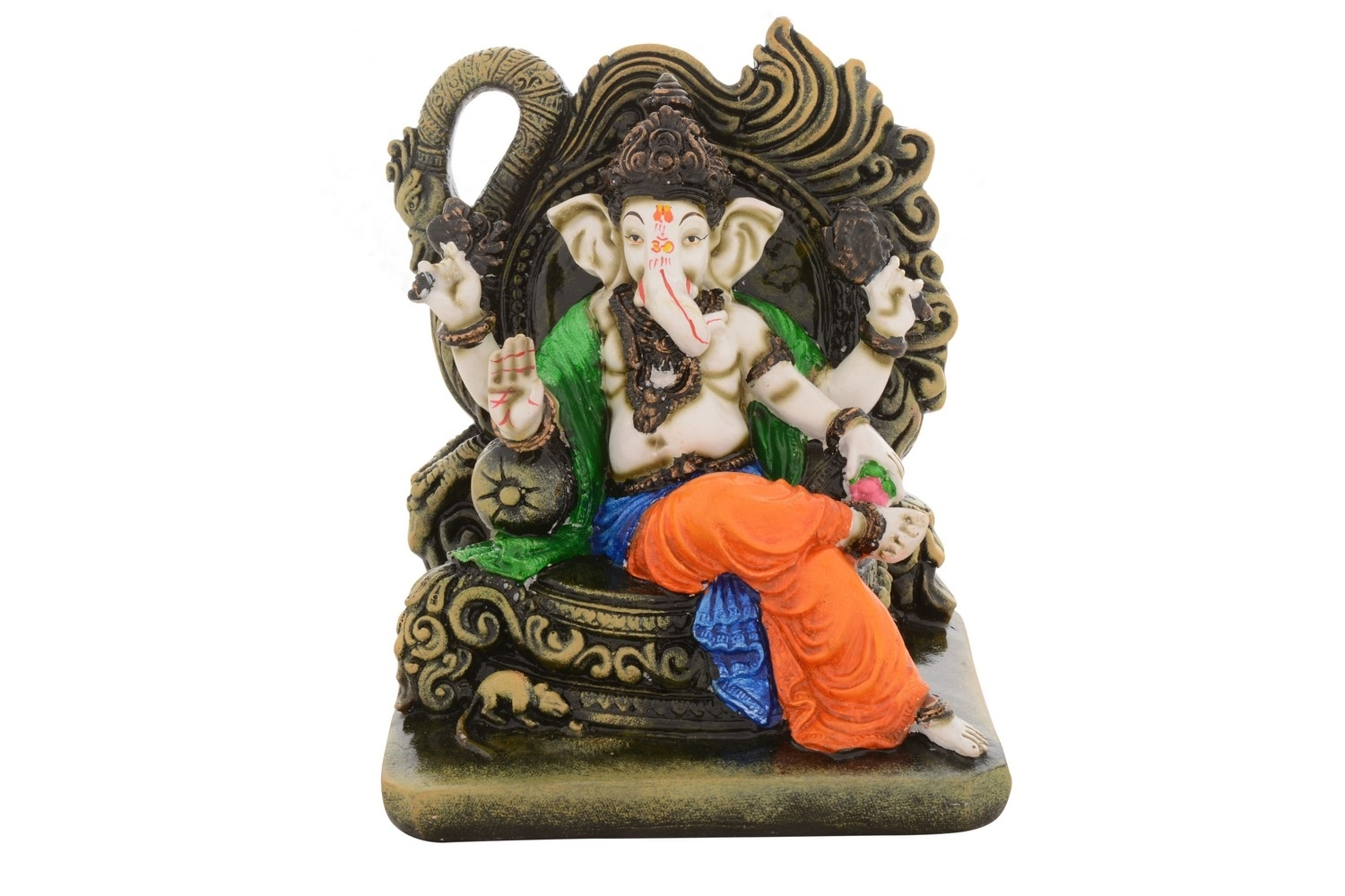 Premium Figurine of Blessing Chaturbhuj Lord Ganesha Indian Home Decor