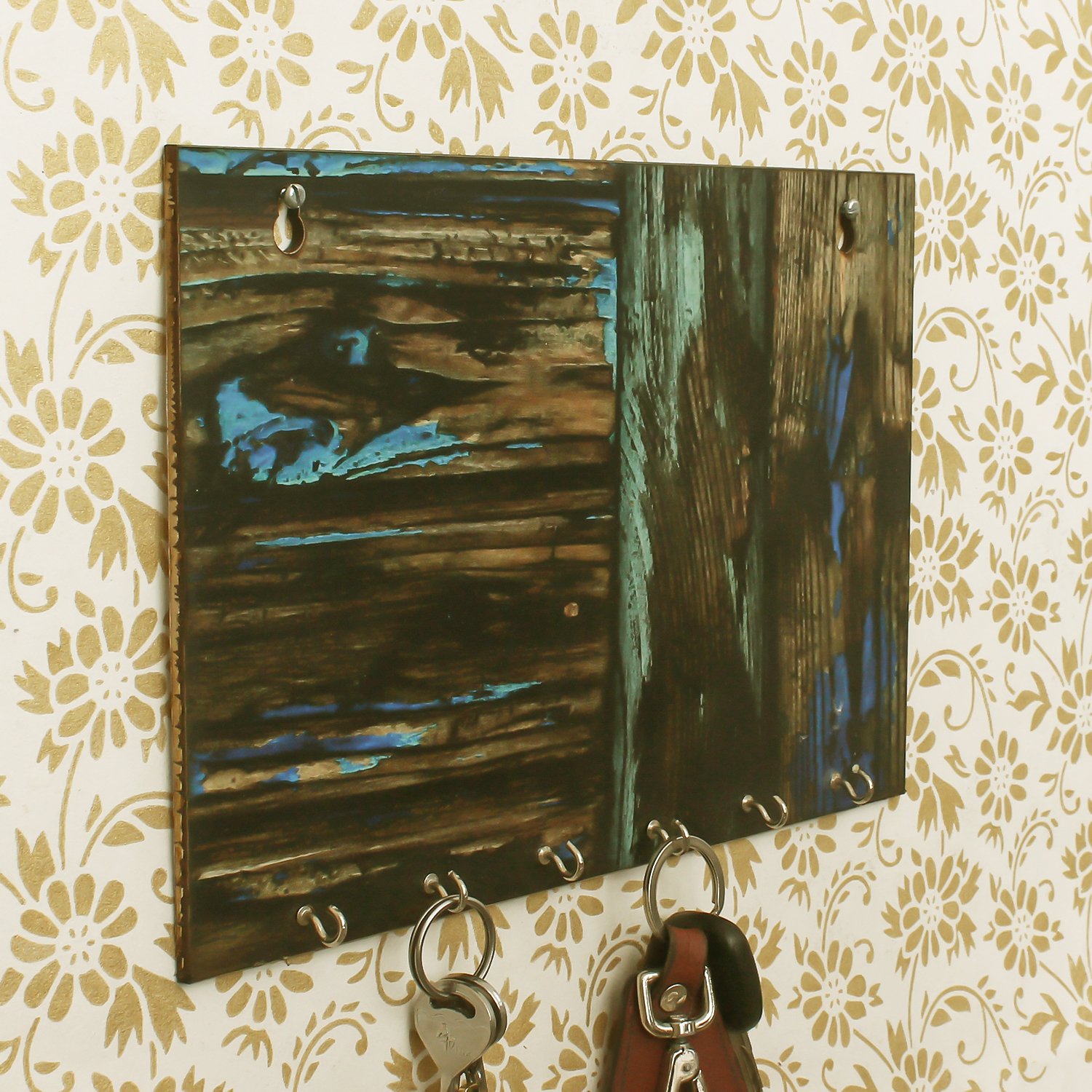 Painting Theme Wooden Key Holder with 6 Hooks Indian Home Decor