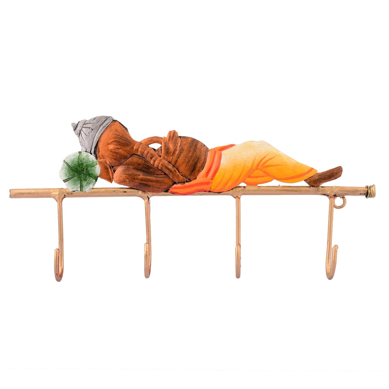 Lord Ganesha Resting on Wrought Iron Key Holder Indian Home Decor