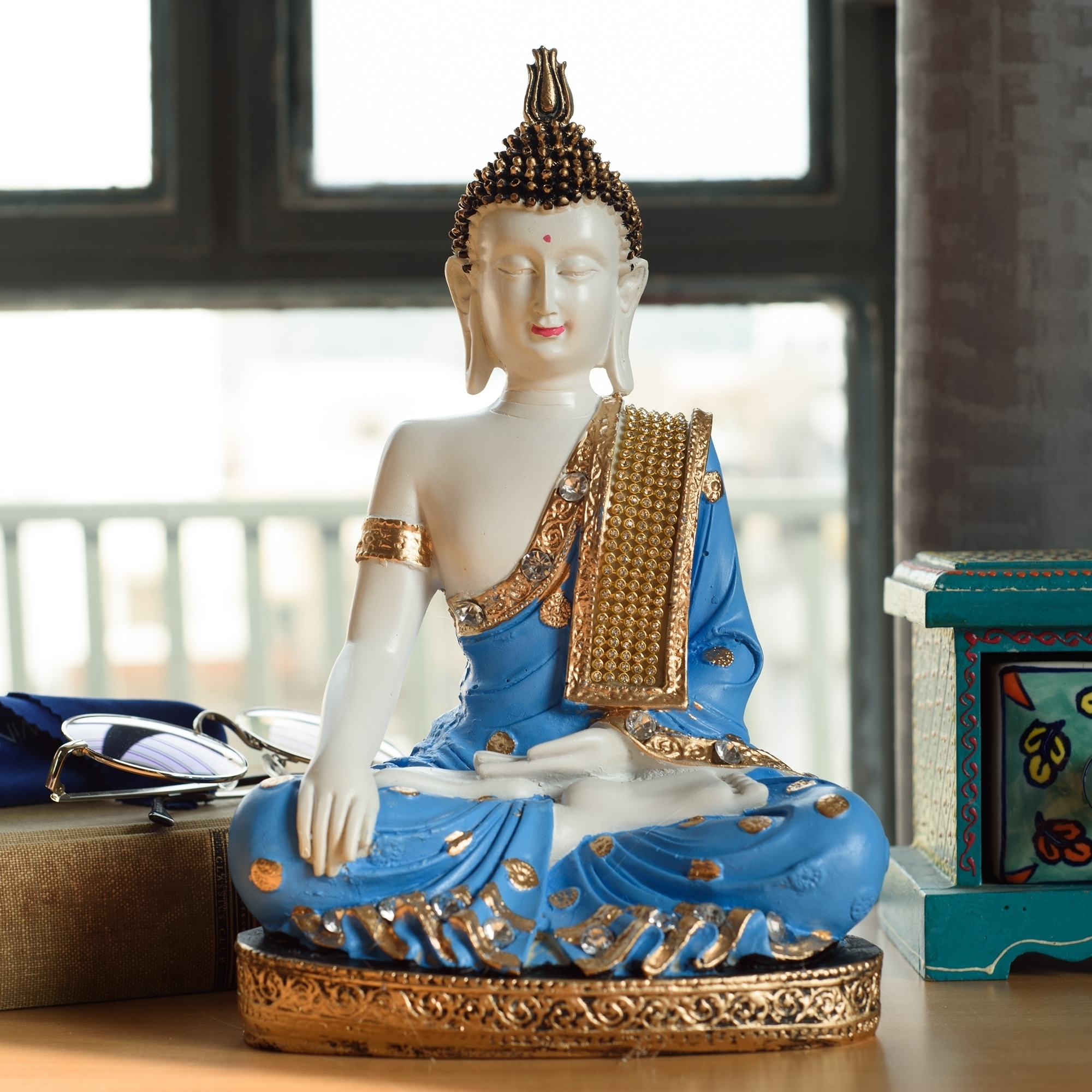 Polyresin Meditating Lord Buddha - Blue Indian Home Decor